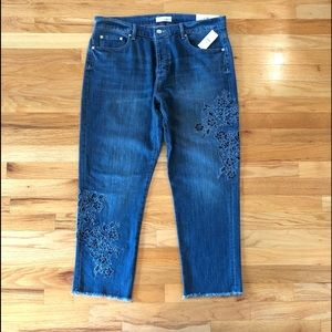LOFT Embroidered Boyfriend Denim Jeans NWT size 12